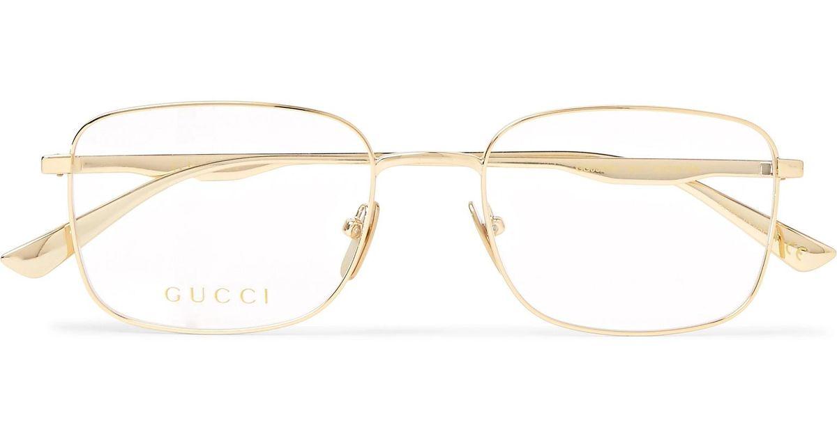 4b153de46f Gucci Square-frame Gold-tone Optical Glasses in Metallic for Men - Lyst