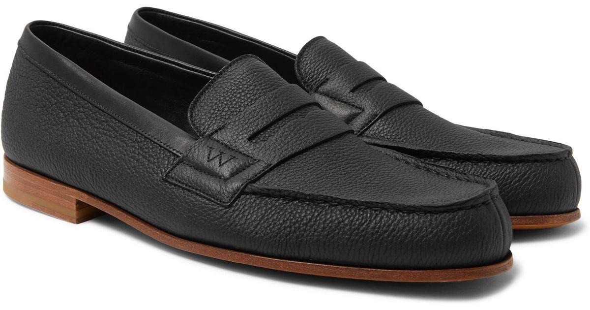 281 Le Moc Pebble-grain Leather Loafers J.M. Weston rcK1dXwos