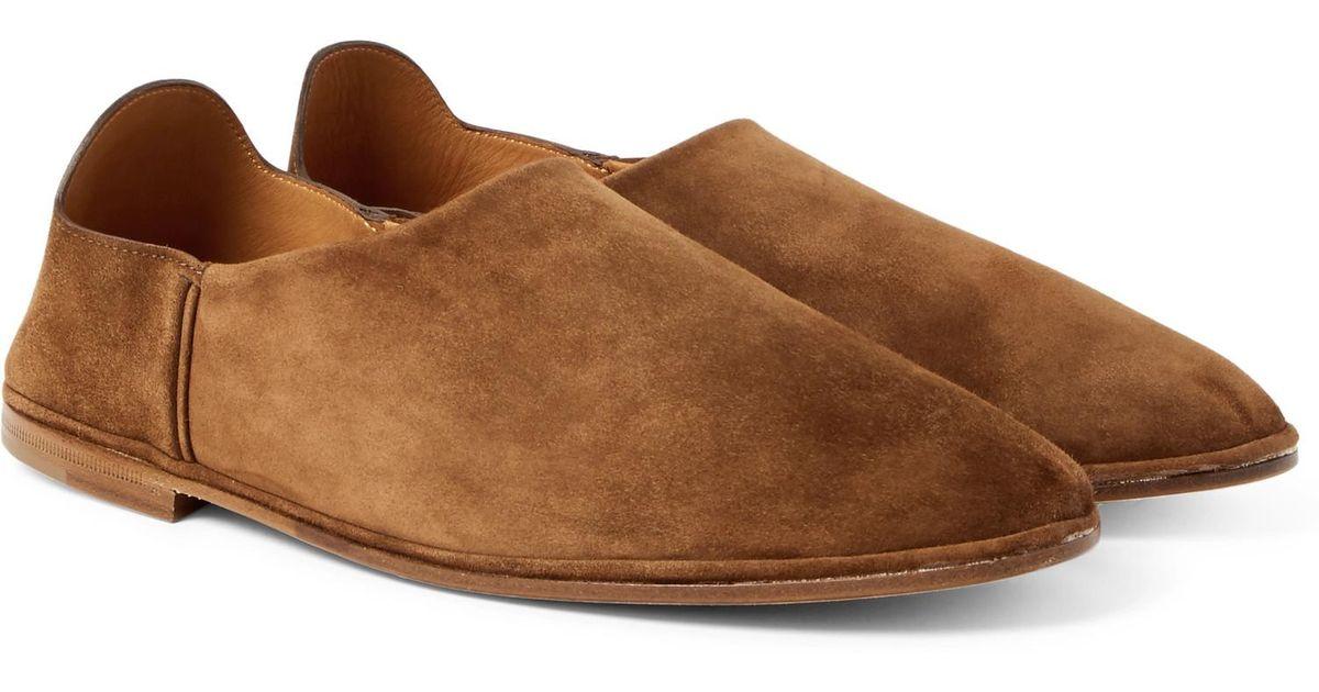 officiel Saint Laurent Fes Collapsible-heel Suede Loafers - Brown Excellent Dérivatif uAKT6