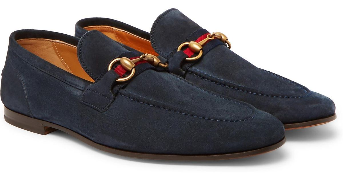 18fb64d6f Gucci Horsebit Webbing-trimmed Suede Loafers in Blue for Men - Lyst