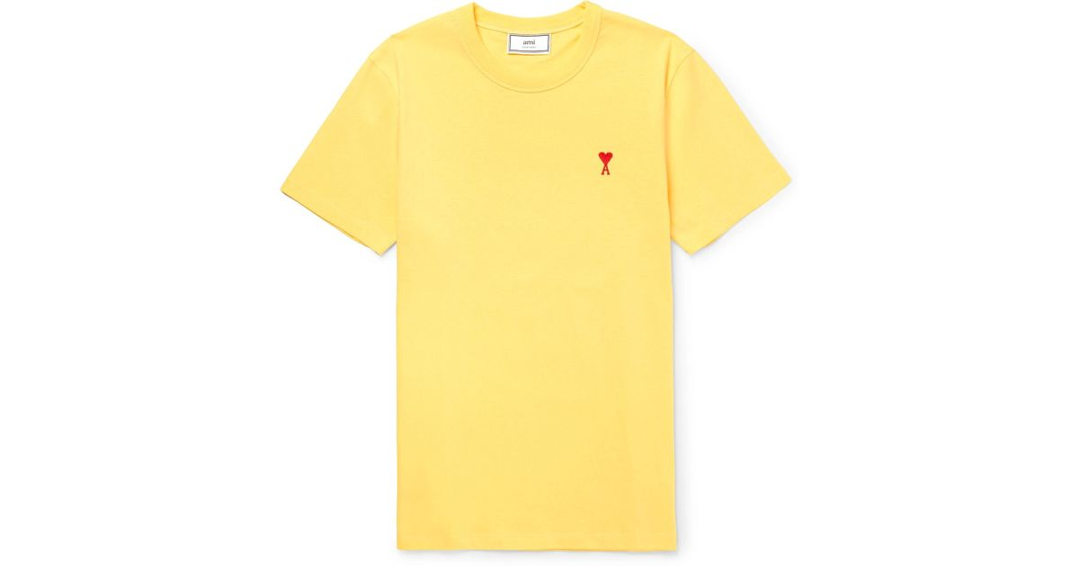 Ami Slim-fit Embroidered Cotton-jersey T-shirt - Yellow MG5clEEw7