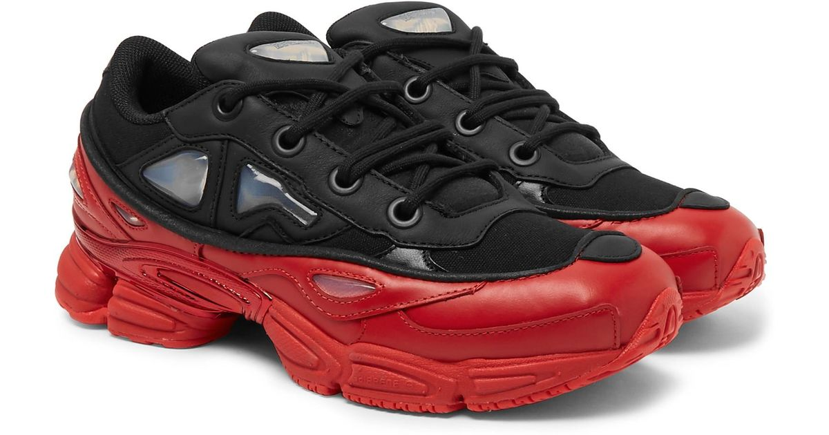 0ac939c9df5b Lyst - Raf Simons + Adidas Ozweego Iii Leather And Mesh Sneakers in Black  for Men