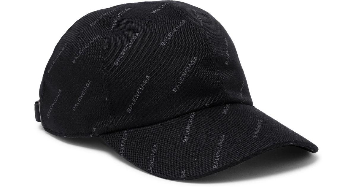 Lyst - Balenciaga Printed Twill Baseball Cap in Black for Men 7a49840331a