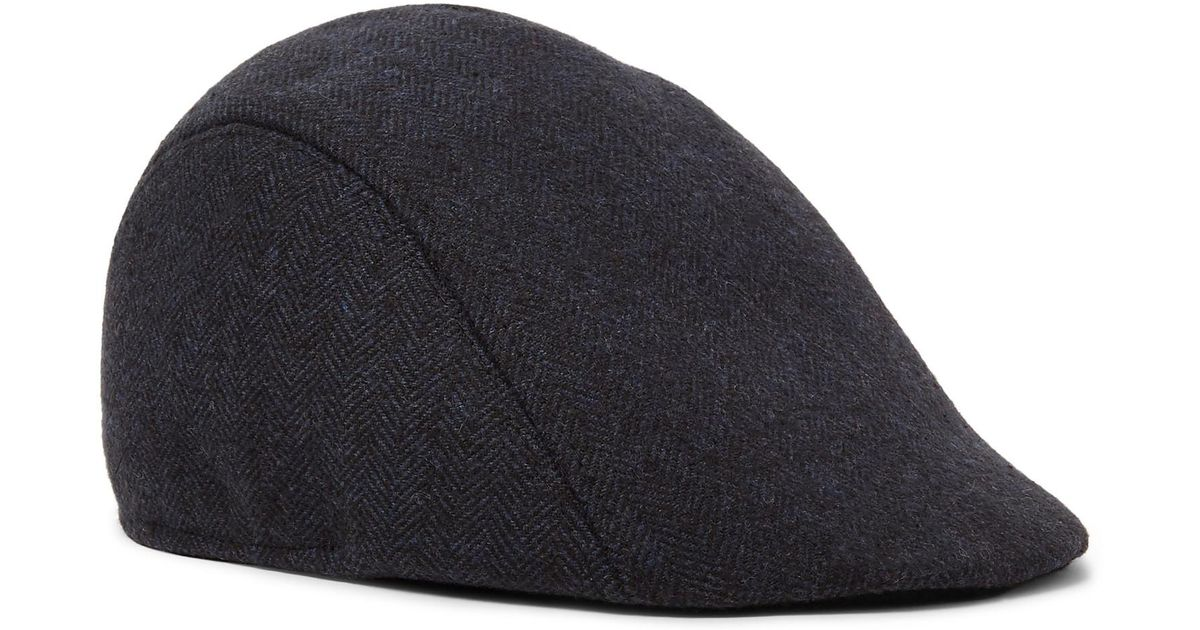 7383a9e21 Paul Smith - Blue Manjit Herringbone Wool-tweed Flat Cap for Men - Lyst