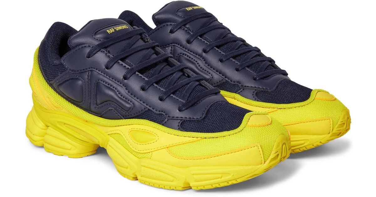 Lyst - Raf Simons + Adidas Originals Ozweego Mesh And Leather Sneakers in  Blue for Men 2ebc11a4e