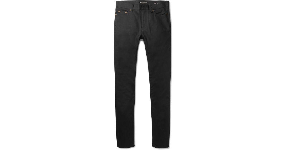 ff08b63da4b Saint Laurent Skinny-fit 15cm Hem Raw Stretch-denim Jeans in Black for Men  - Lyst