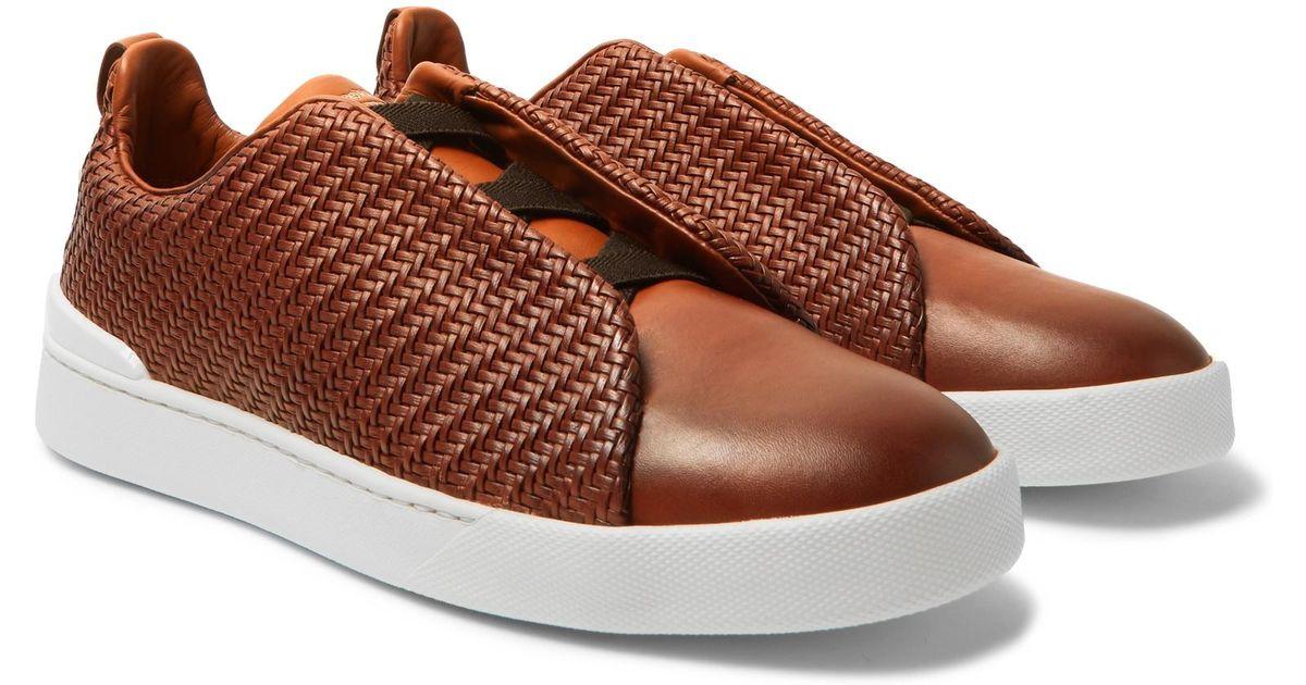 8bac5714 Ermenegildo Zegna - Brown Triple Stitch Pelle Tessuta Leather Slip-on  Sneakers for Men - Lyst