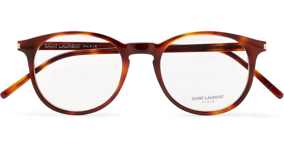 eb45b4d8b3 Lyst - Saint Laurent Round-frame Tortoiseshell Acetate Optical Glasses in  Brown for Men