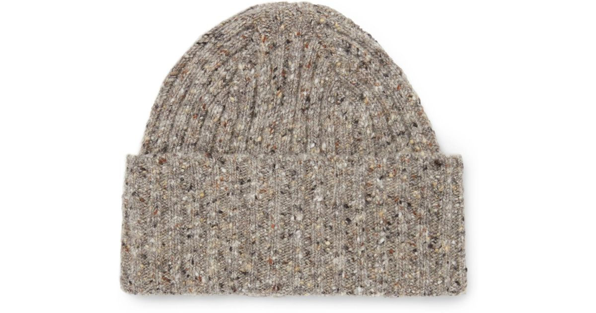 Lyst - Drake s Ribbed Donegal Merino Wool Beanie in Natural for Men 29c5e15944cd
