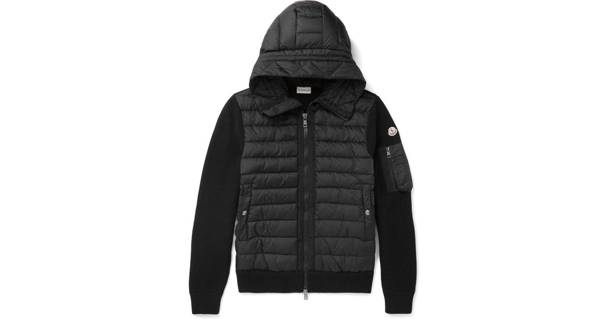 2505e792911 Moncler Maglione Wool-blend And Quilted Shell Hooded Down Jacket in Black  for Men - Lyst