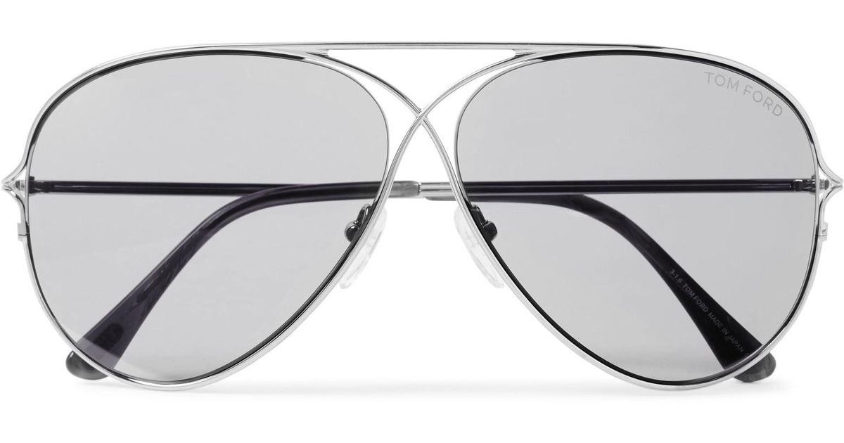 7c047f7fa9 Tom Ford Aviator-style Titanium Sunglasses in Metallic for Men - Lyst