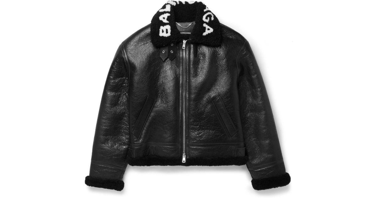 Printed Shearling Bomber Jacket Balenciaga Cheap For Nice C91RO