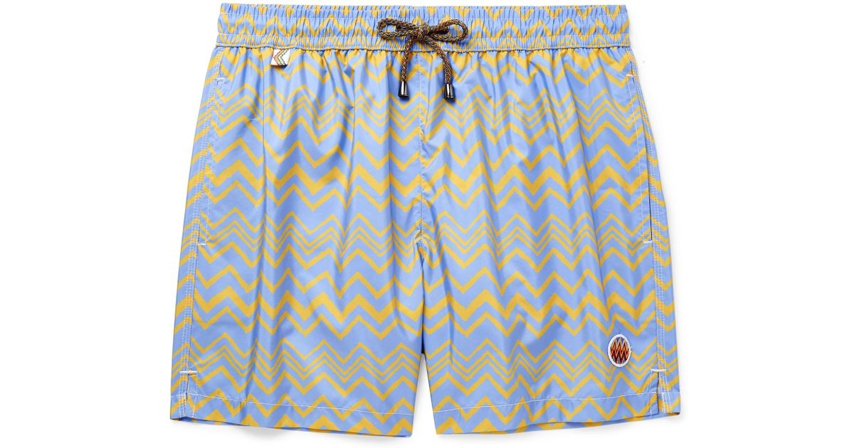 56b0de6445bdef Missoni Mid-length Printed Swim Shorts in Blue for Men - Lyst