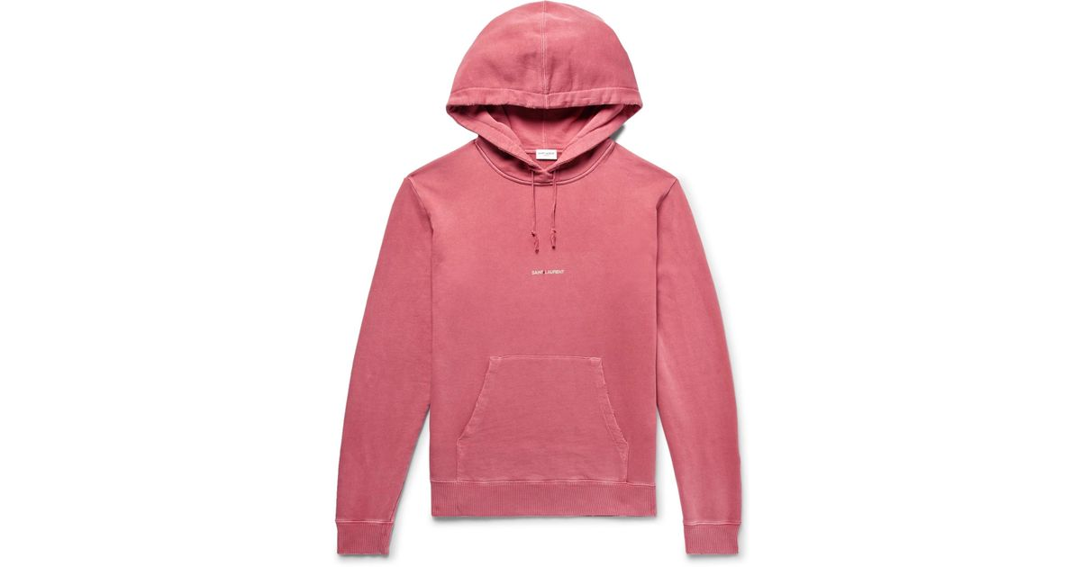 64d7f0bb2b0 Saint Laurent Logo-print Distressed Loopback Cotton-jersey Hoodie in Pink  for Men - Lyst