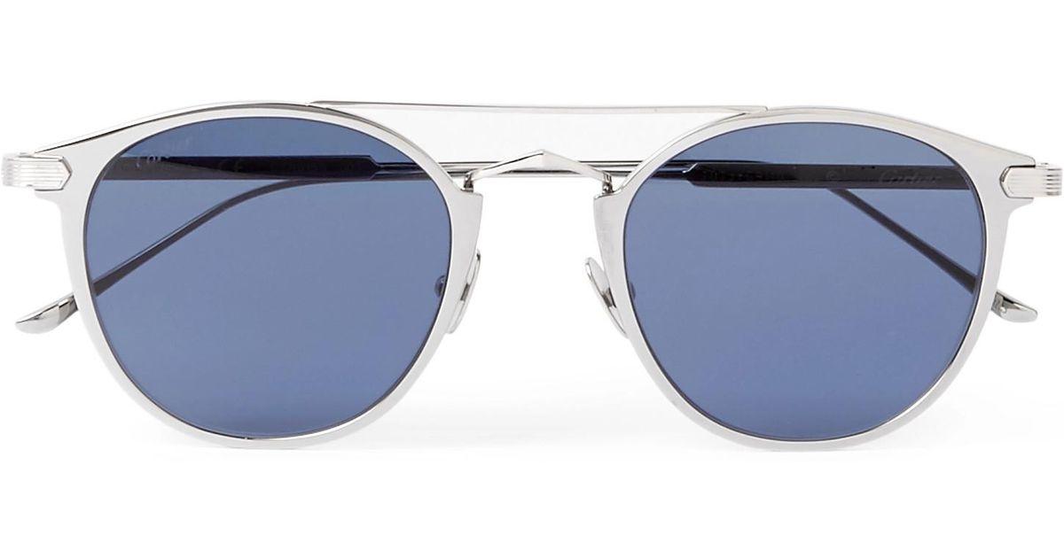 1b00808d5 Cartier Signature C De Cartier Round-frame Silver-tone Sunglasses in Gray  for Men - Lyst