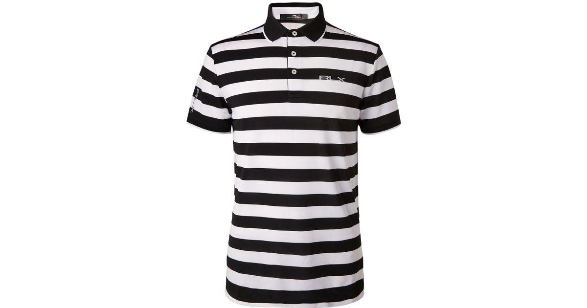 5f818552c Lyst - RLX Ralph Lauren Striped Tech-piqué Golf Polo Shirt in White for Men