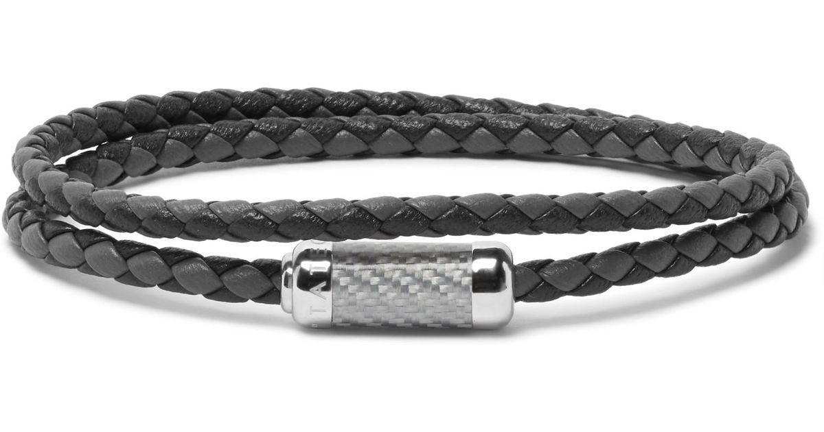 Lyst Tateossian Montecarlo Woven Leather And Sterling Silver