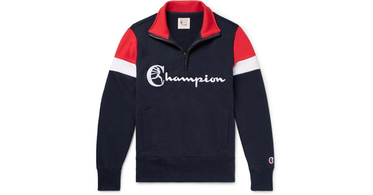 TODD SNYDER Embroidered Colour-block Loopback Cotton-jersey Half-zip Sweatshirt - Midnight blue 7fiswfbdJ