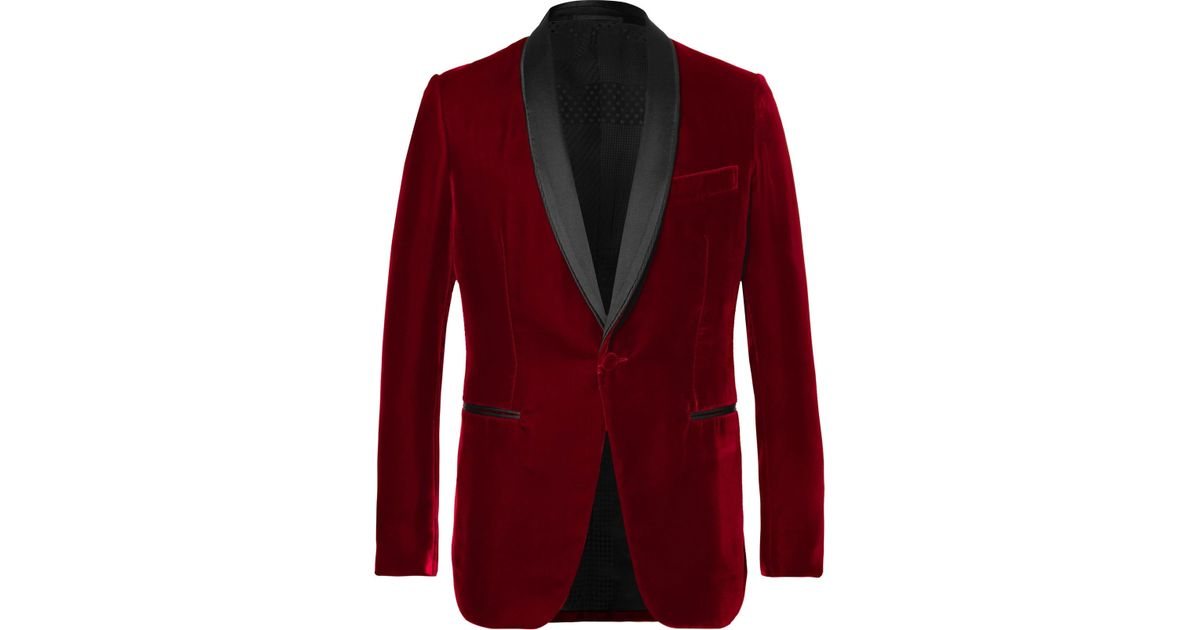 84dc04c4c38 Berluti Red Satin-trimmed Velvet Tuxedo Jacket in Red for Men - Lyst