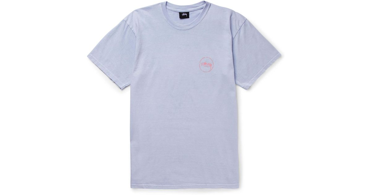 Stussy old stamp printed cotton jersey t shirt in blue for for Stamp t shirt printing