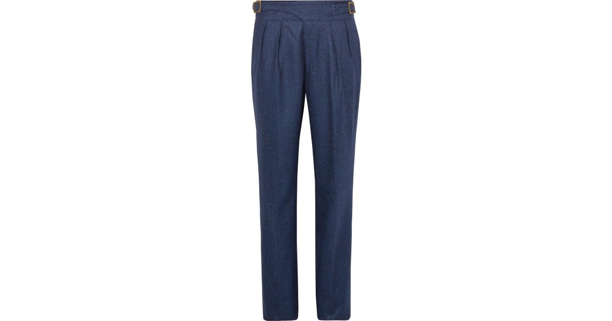 Cheap Sale Best Prices Shopping Discounts Online Navy Manny Pleated Flannel Wool Trousers Rubinacci Really Cheap Shoes Online CUIbnDH