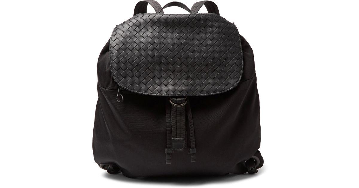 496693f3f684 Lyst - Bottega Veneta Intrecciato Leather-panelled Canvas Backpack in Black  for Men