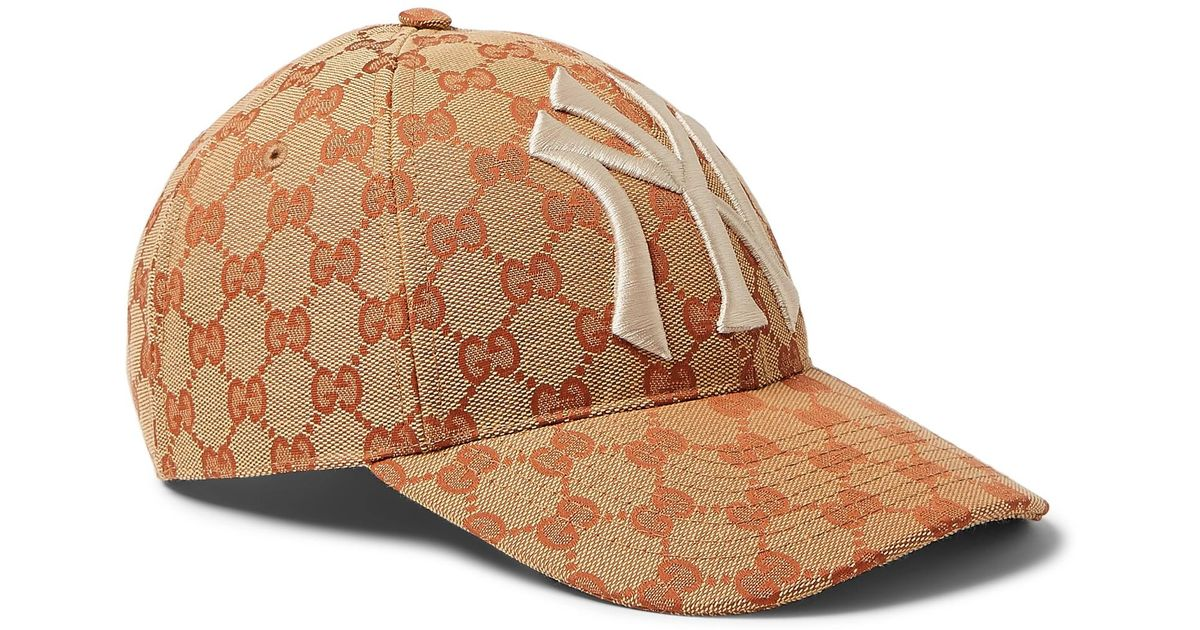 91dca939561 ... d421c c959f Gucci Brown And White Gg New York Yankees Baseball Cap in  Brown for Men ...