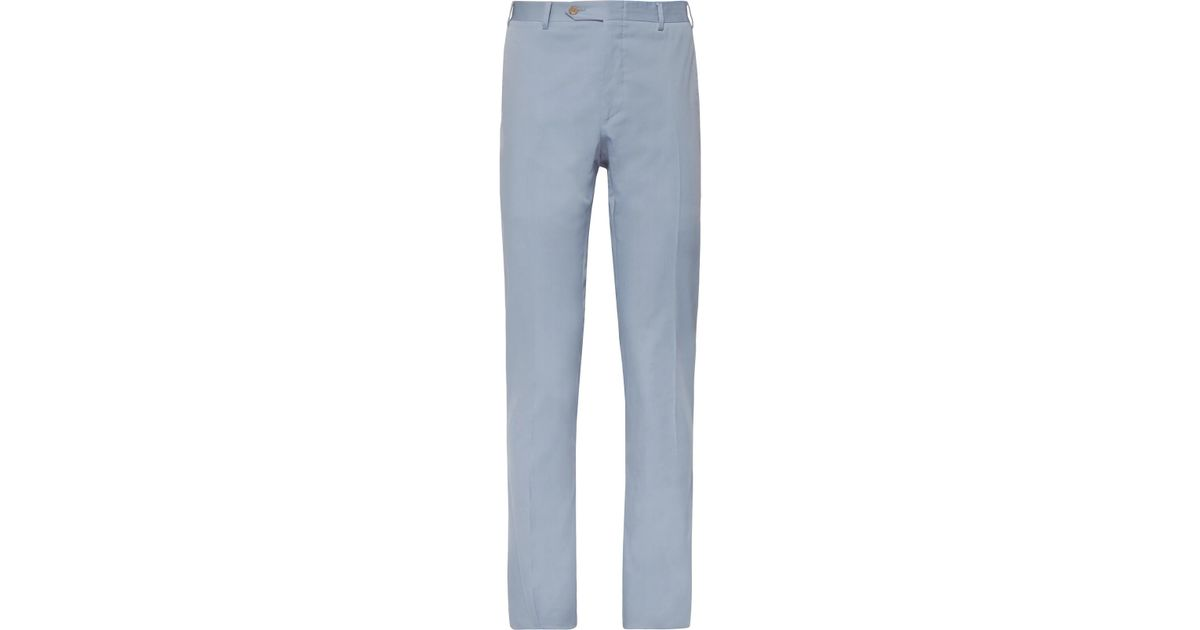 Slim-fit Brushed Stretch-cotton Twill Trousers Canali