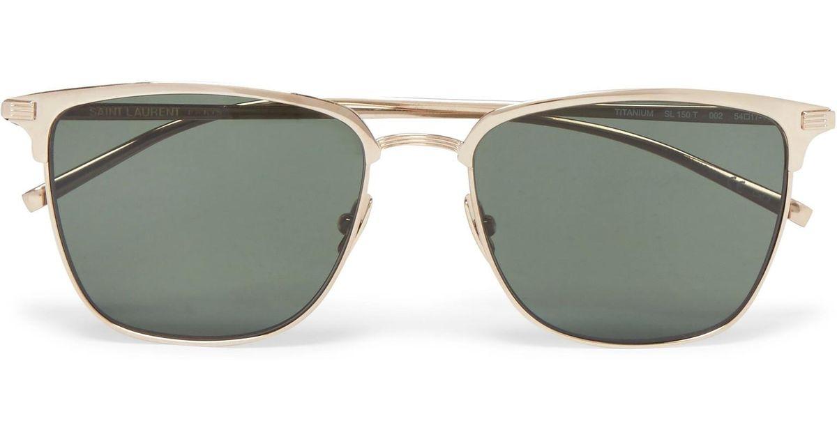 D-frame Gold-tone Titanium Sunglasses Saint Laurent 5k5b6