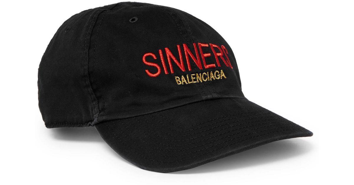 Lyst - Balenciaga Sinners Embroidered Cotton-twill Baseball Cap in Black  for Men 341bba3ab0ce