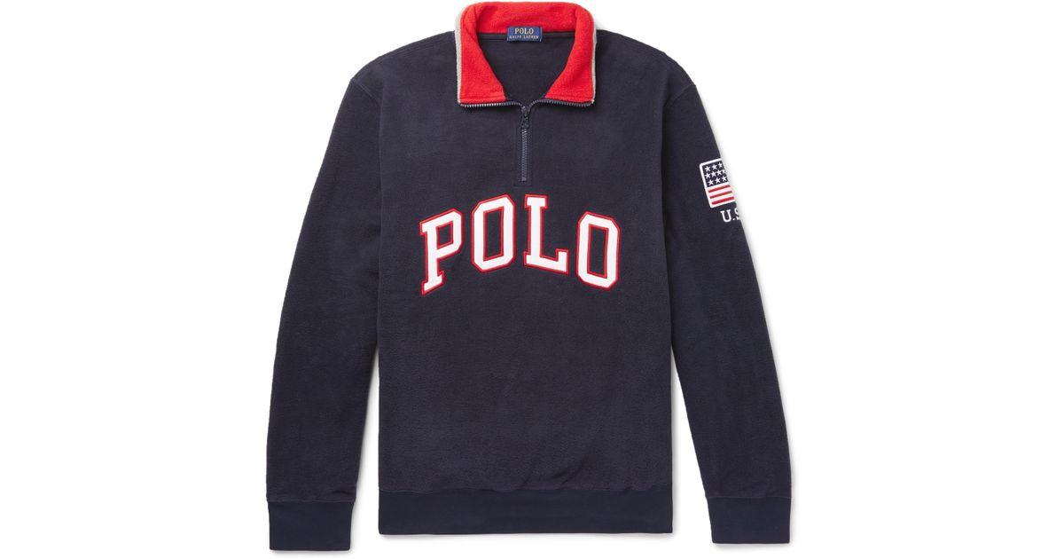 Lyst - Polo Ralph Lauren Logo-appliquéd Fleece Half-zip Sweatshirt in Blue  for Men 2d89188e654