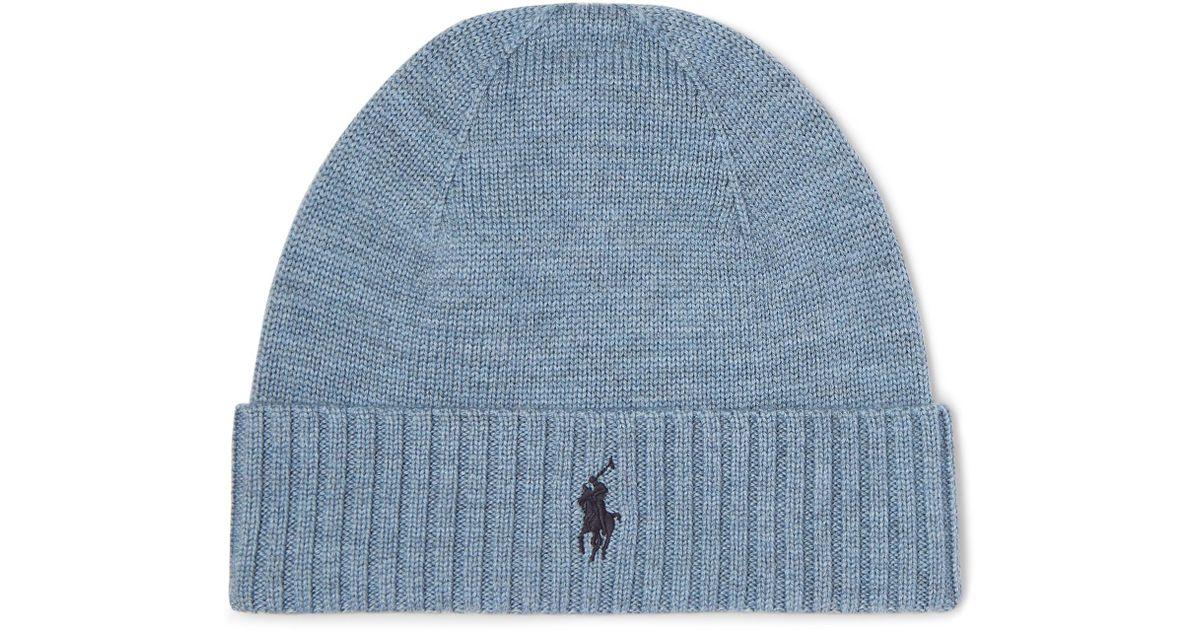 a2a7b1bc9a2 Lyst - Polo Ralph Lauren Merino Wool Beanie in Blue for Men