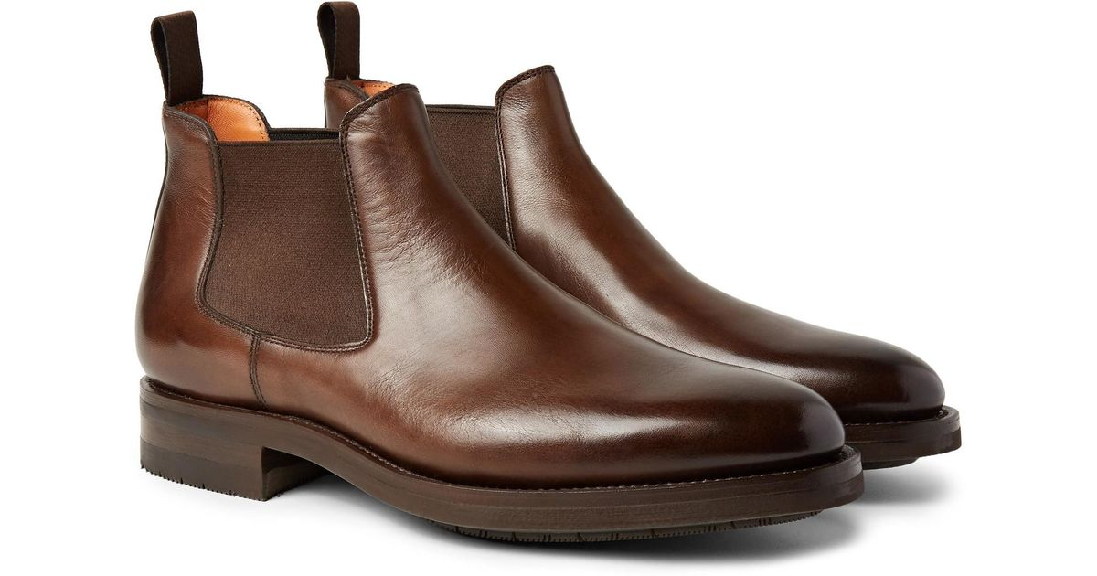 6352def5c31dd5 Santoni Burnished-leather Chelsea Boots in Brown for Men - Lyst