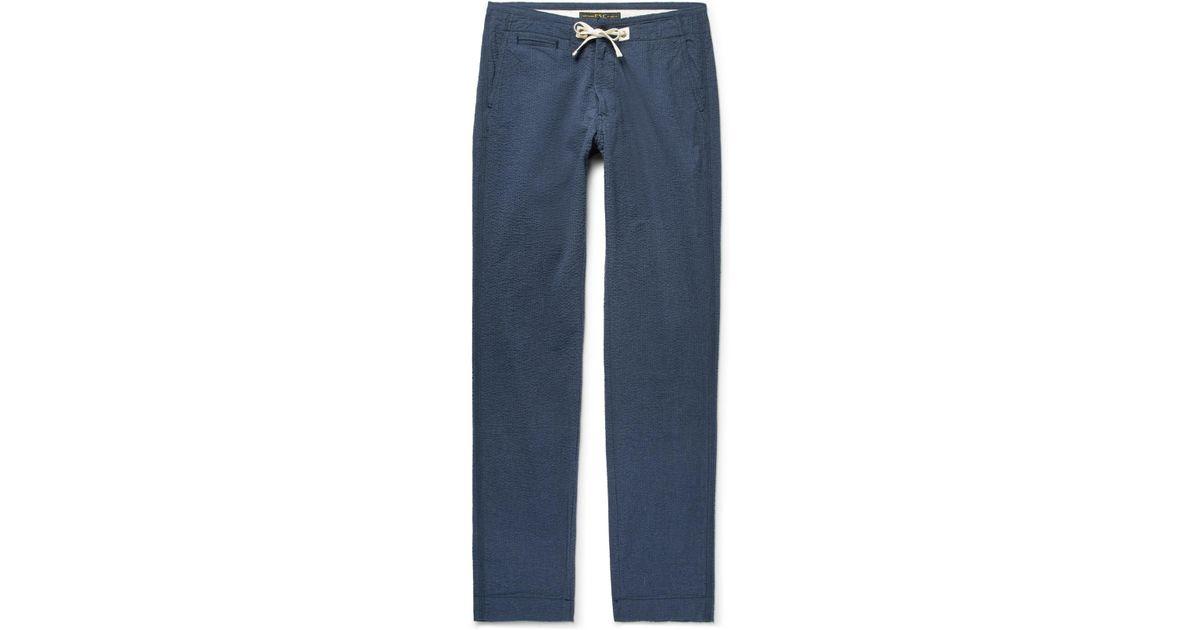 Ez Slim-fit Cotton-seersucker Drawstring Trousers Freemans Sporting Club EOd5X4bI