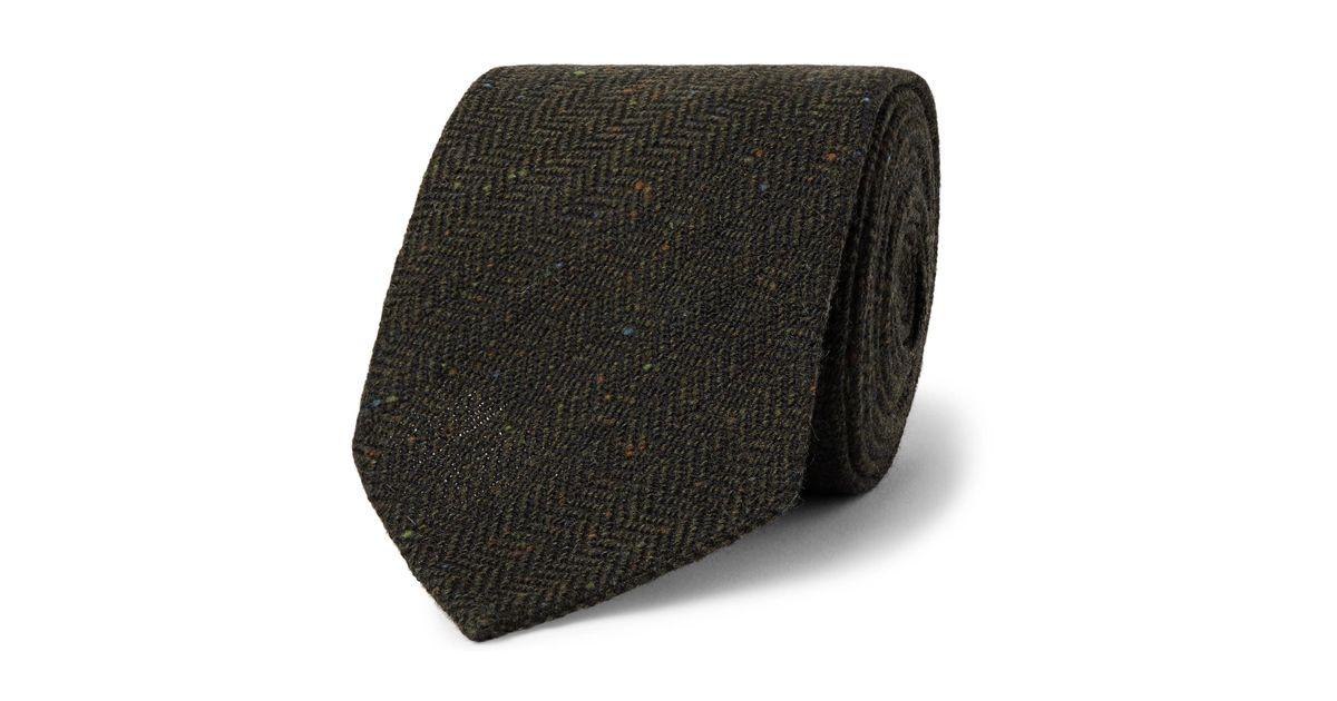a8ad9ab8b122 Drake's 8cm Herrinbgone Wool-tweed Tie in Green for Men - Lyst