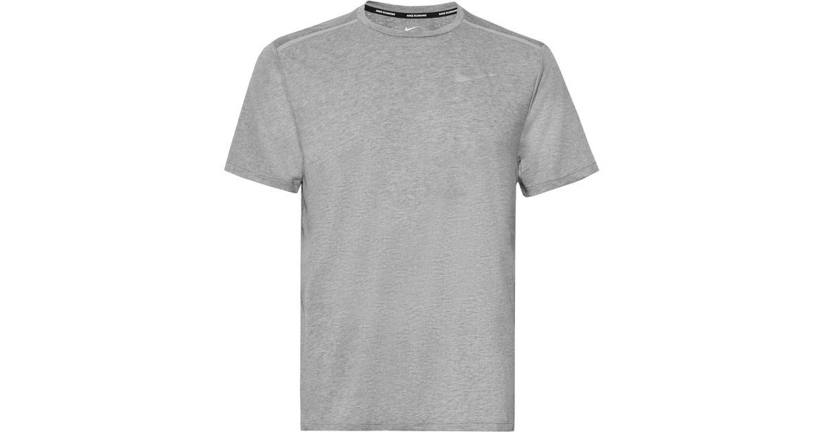 9a89b9f75e4 Lyst - Nike Rise 365 Perforated Mélange Dri-fit T-shirt in Gray for Men