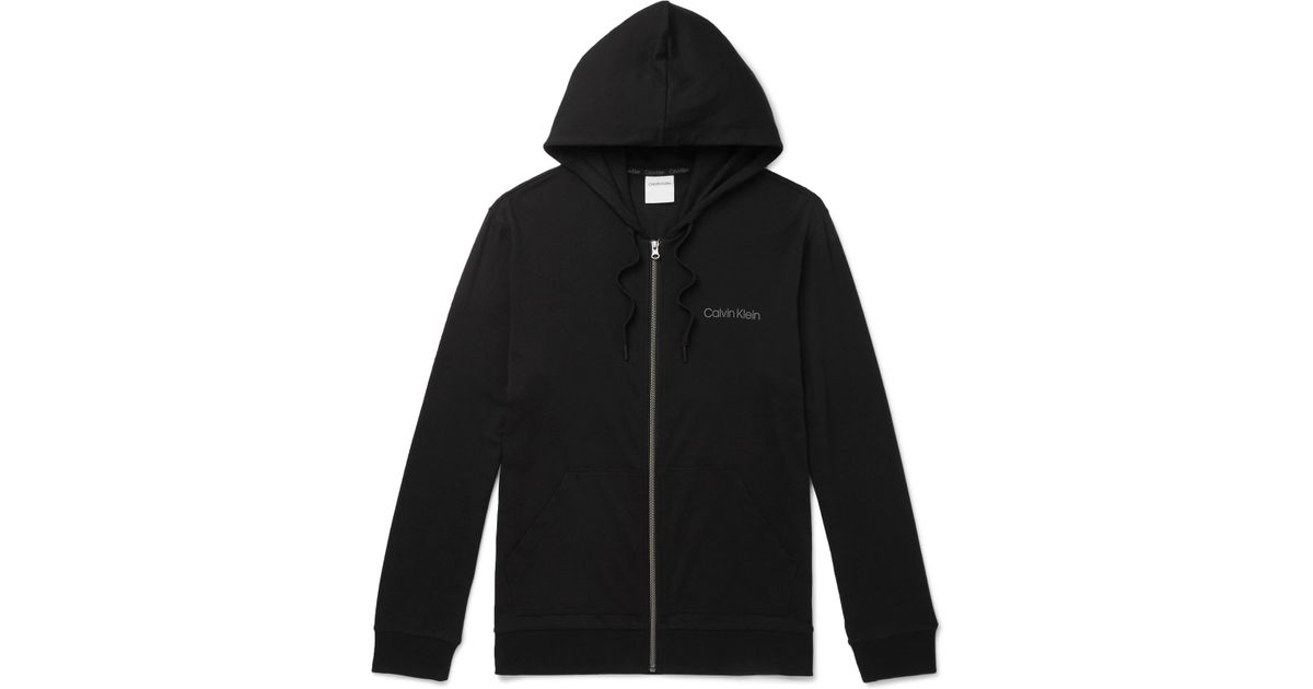 07e8e8ee93bf Lyst - Calvin Klein Stretch Cotton And Modal-blend Zip-up Hoodie in Black  for Men
