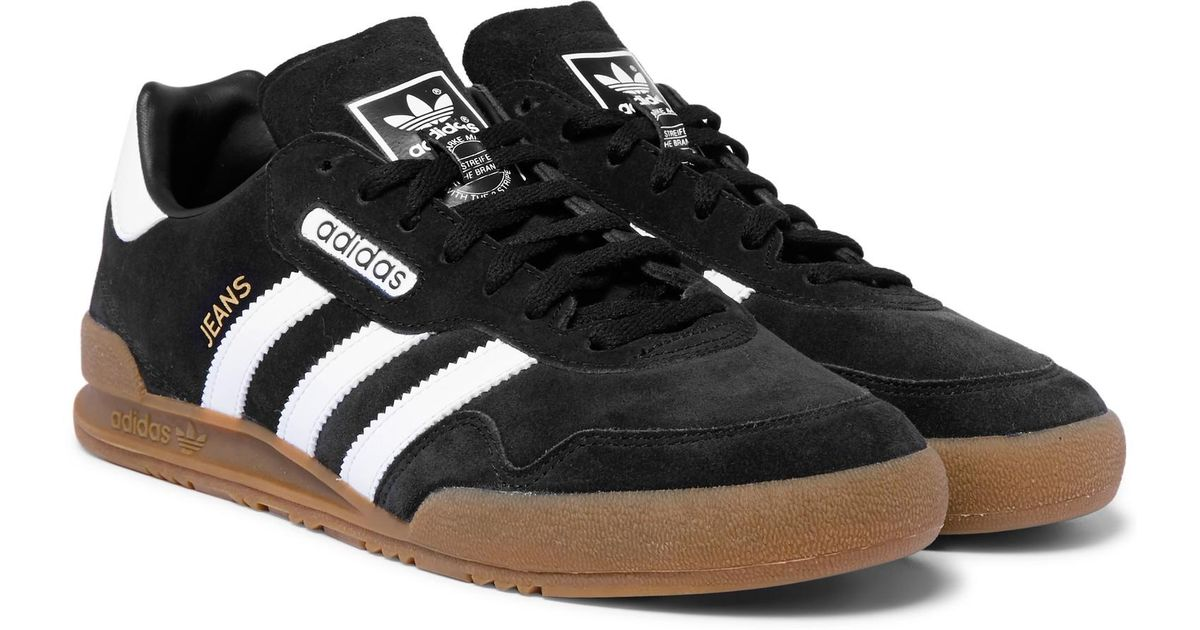 5a91eb1ac1 adidas Originals Jeans Super Leather-trimmed Suede Sneakers in Black for  Men - Lyst