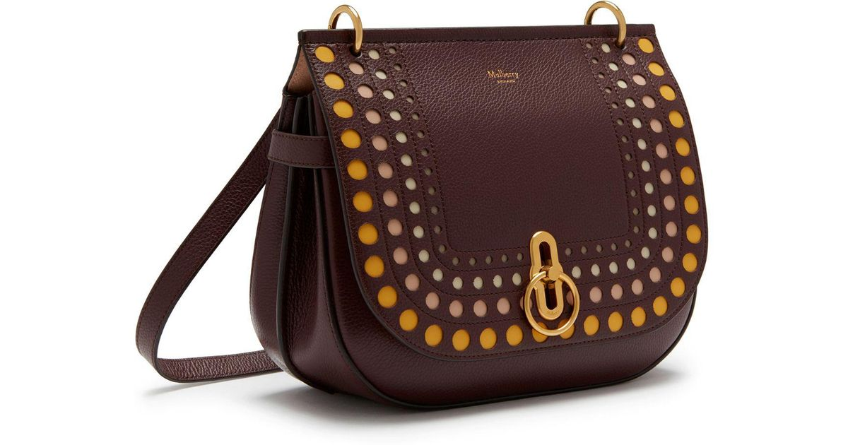 256c73f1504d Lyst - Mulberry Amberley Satchel In Burgundy Smooth Calf Perforated Dots