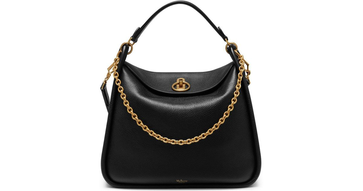 ab69393bba1b Lyst - Mulberry Leighton In Black Small Classic Grain in Black