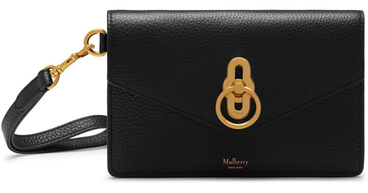 737e13b9d Mulberry Amberley Phone Clutch In Black Small Classic Grain in Black - Lyst