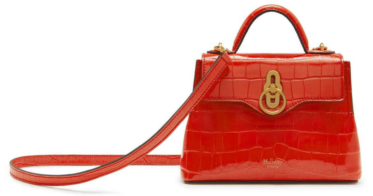 23555dfcf6b6 Lyst - Mulberry Micro Seaton In Hibiscus Red Croc Print in Red