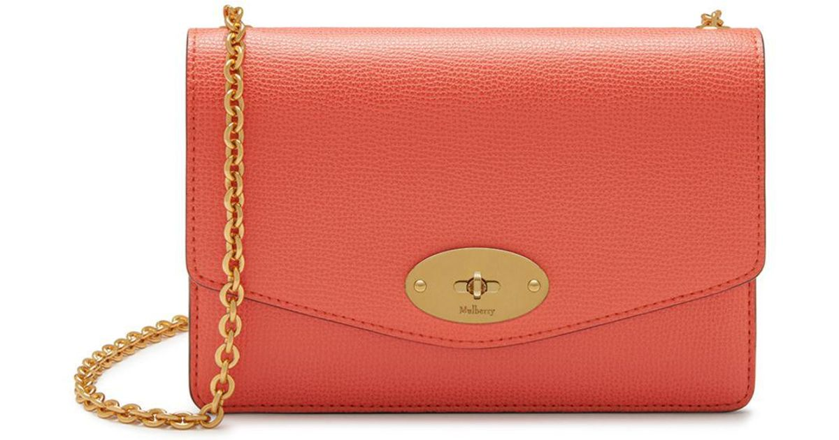 6c15a73022 Mulberry - Pink Small Darley In Coral Rose Cross Grain Leather - Lyst
