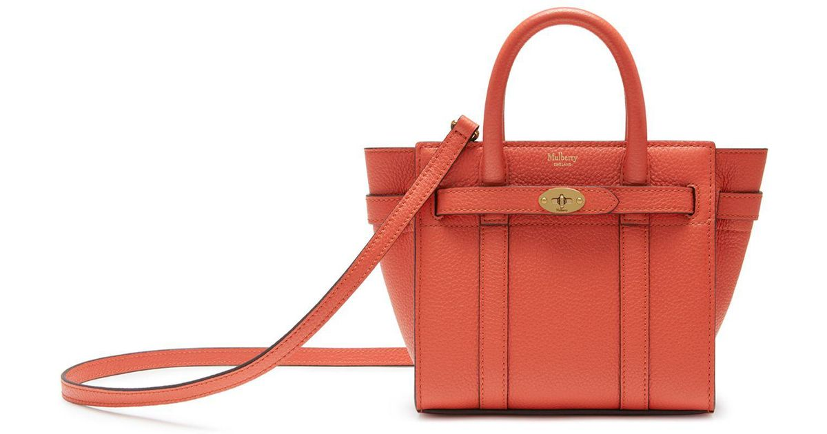 8342bee5b Mulberry Micro Zipped Bayswater In Coral Rose Small Classic Grain in Pink -  Lyst
