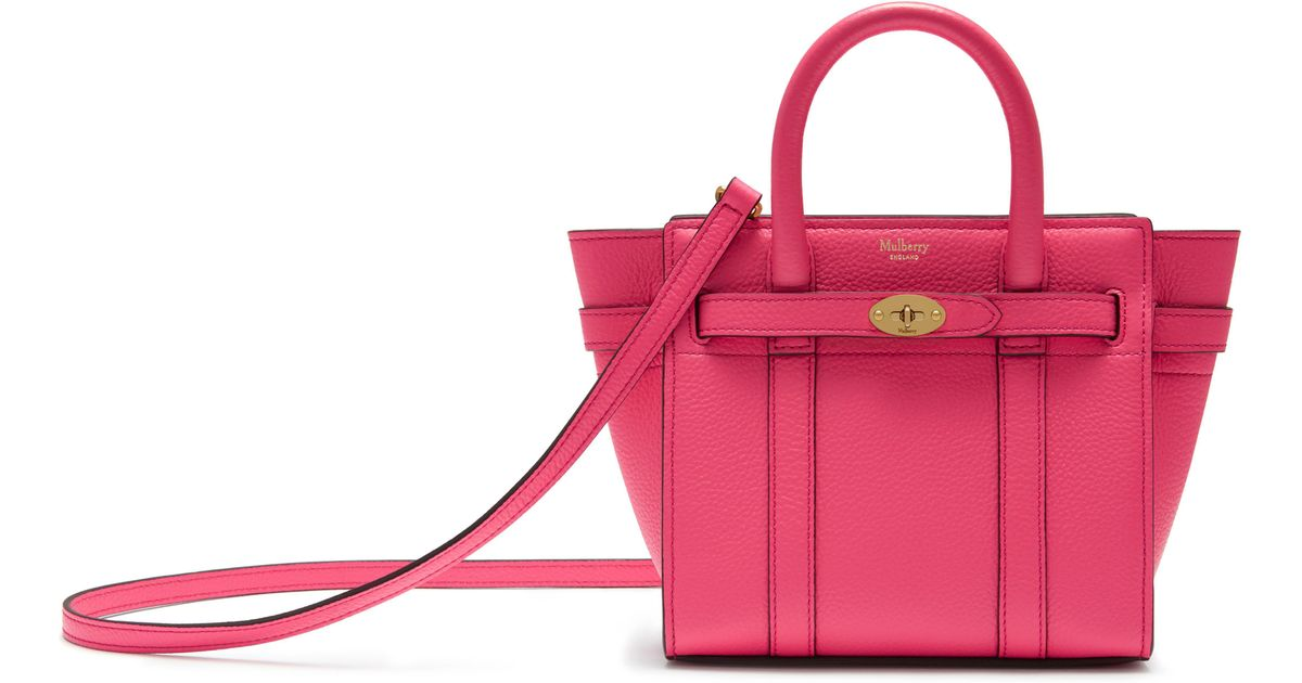 Lyst - Mulberry Micro Zipped Bayswater In Fluoro Pink Small Classic Grain  in Pink - Save 14% 3ce9d38f6bf6b