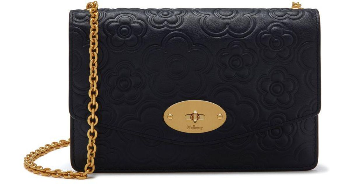 f032bf639175 Lyst - Mulberry Small Darley In Midnight Silky Calf Geo Floral 3d Applique  in Blue