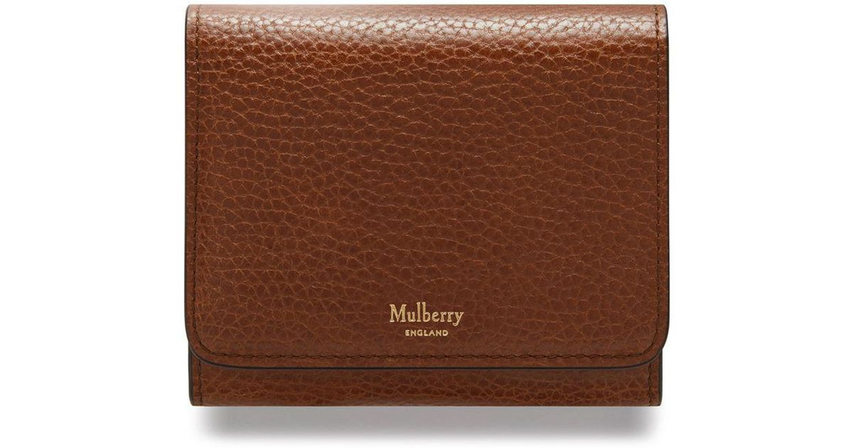 ca4f87c869e8f Lyst - Mulberry Small Continental French Purse In Oak Natural Grain Leather  in Brown