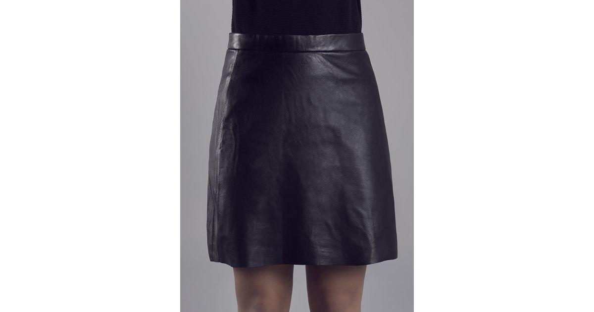 5e5ab08d9 Muubaa Pannala Black Leather A Line Skirt in Black - Lyst