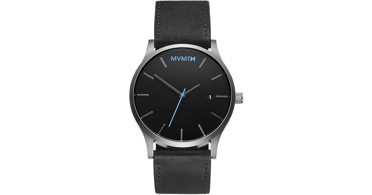 fec9342082220 Lyst - MVMT Classic Black silver Leather in Black for Men