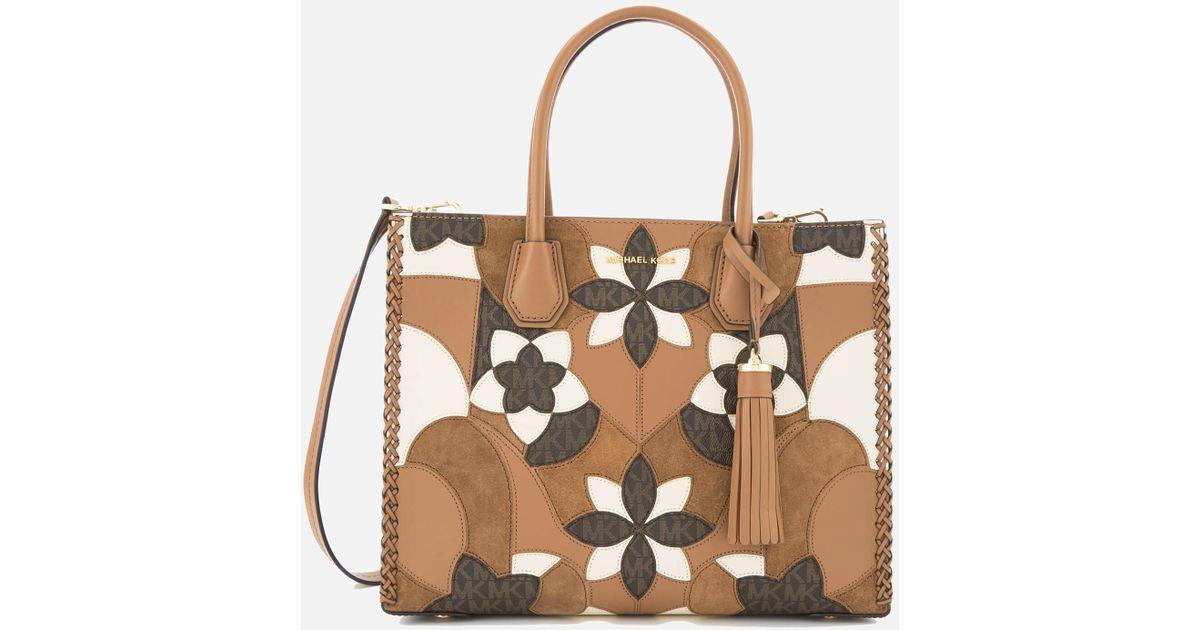 026c5d7a19d8 Lyst - MICHAEL Michael Kors Mercer Patchwork Large Conversational Tote Bag  in Brown